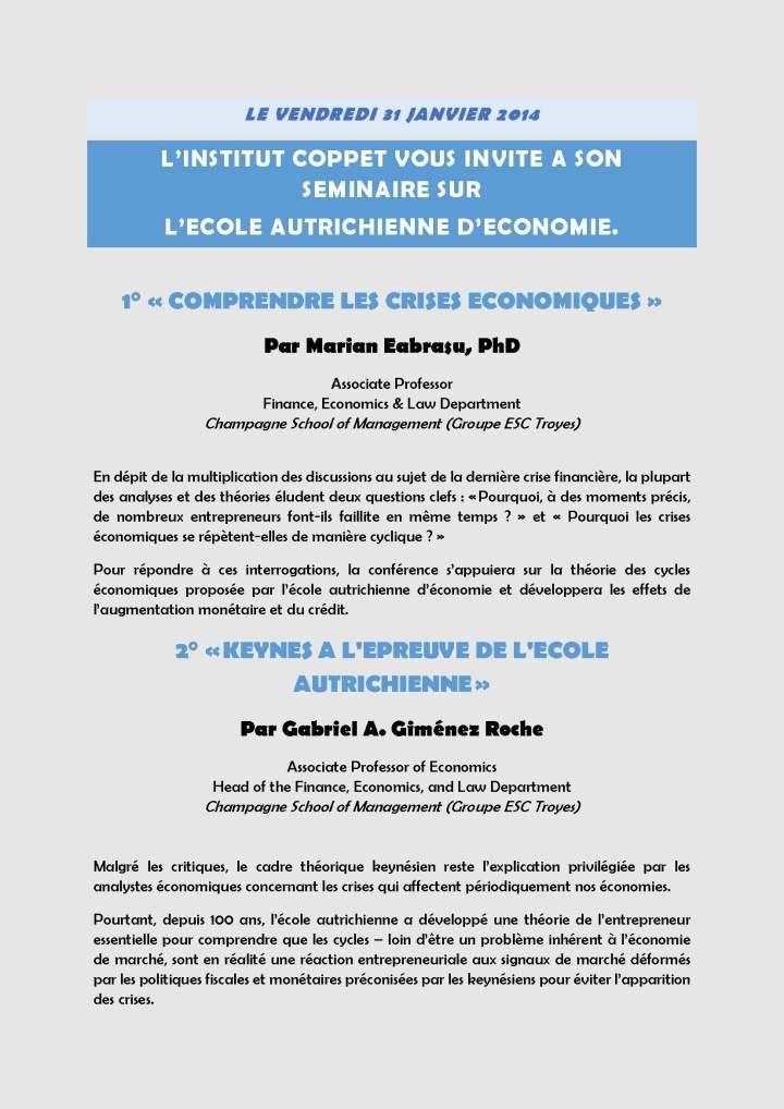 Page 1 Séminaire Institut Coppet 31 janvier